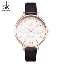 SHENGKE Brand Leather Strap Women Dress Watch  Female Fashion Casual Quartz Watch Women's Wristwatch relogio feminino