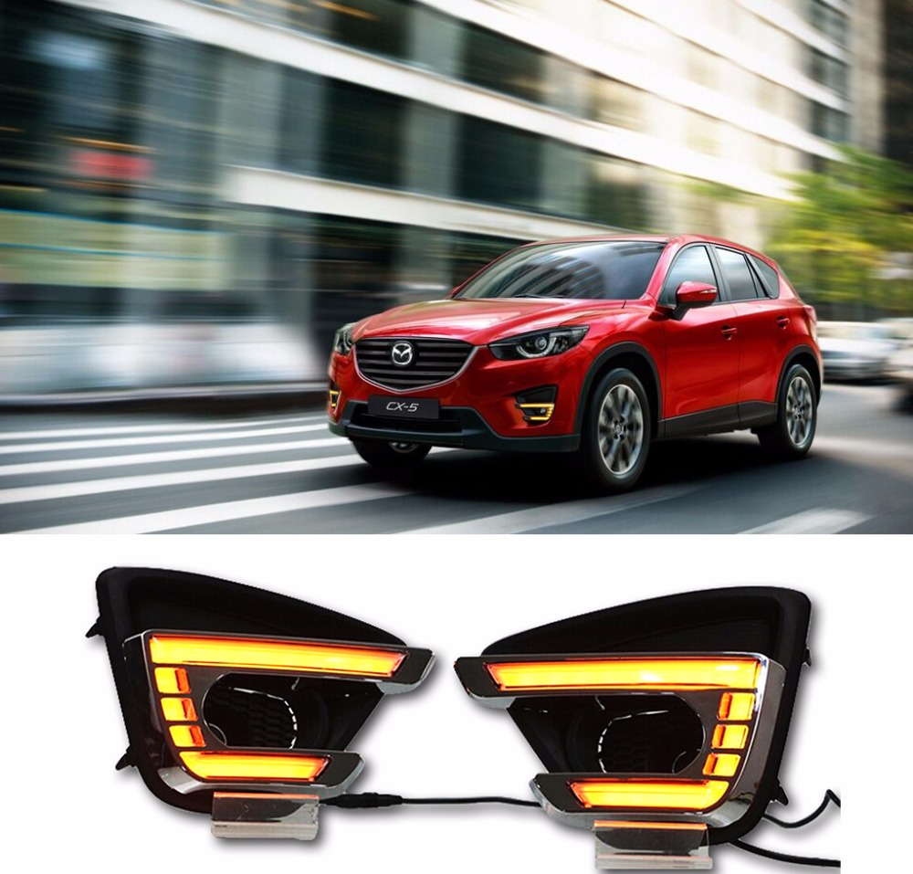 For Mazda CX-5 CX5 2015 2016,With Yellow Turning Signal Function Waterproof Car DRL 12V LED Daytime Running Light Daylight mazda cx 5 киев
