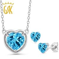 GemStoneKing 3 87 Ct Heart Shape Natural Blue Topaz 925 Sterling Silver Gemstone Pendant Necklace For