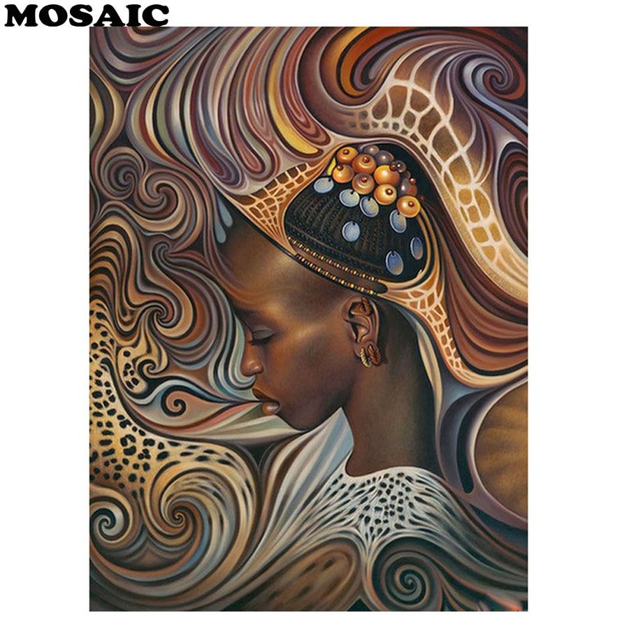 MOSAIC DIY Diamond Painting Cross Stitch Africa girl Needlework 5D Mosaic Embroidery Rhinestones