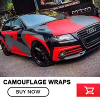 Matt Red Grey Camo Vinyl Wrap Roll For Racing 5 10 15 20 25 30m