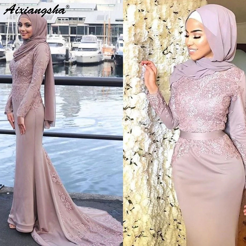 Formal Muslim   Evening     Dresses   2018 Mermaid Long Sleeves Appliques Scarf Islamic Dubai Saudi Arabic Long Elegant   Evening   Gown