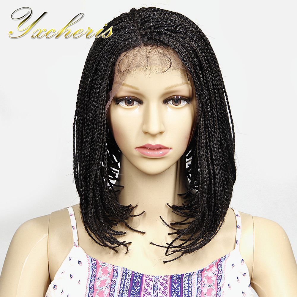 YXCHERISHAIR Short Synthetic Box Braid Lace Front Wigs with Baby Hair for Black Women Hair Heat