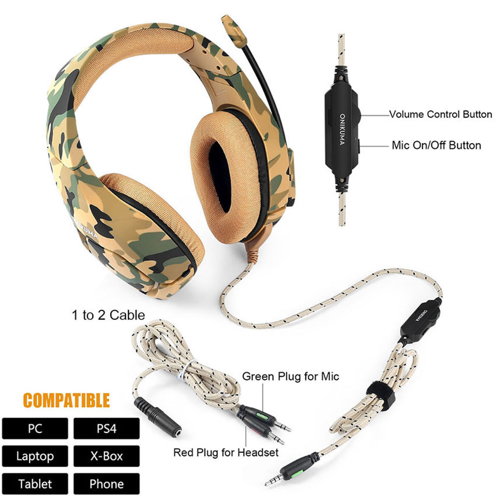 ONIKUMA K1 Casque Camouflage PS4 Headset with Mic Stereo Gaming Headphones for PC Cell Phone New Xbox One Laptop (8)