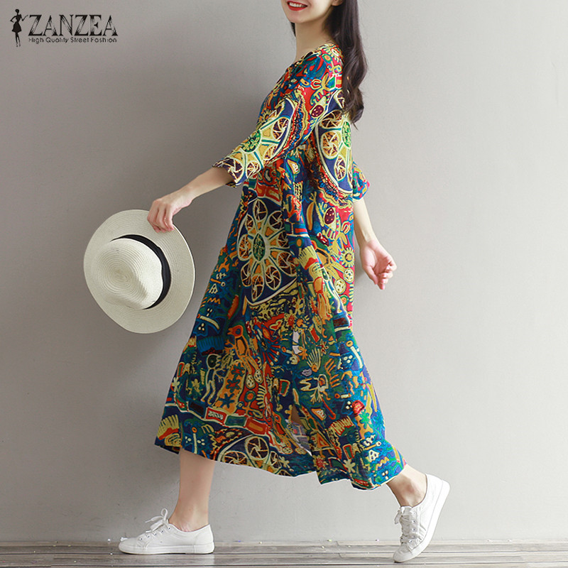 Tops Blusas 2018 ZANZEA Women Floral Printed Casual Loose Kaftan Retro 3/4 Sleeve Party Long Shirt Maxi Dress Vestido