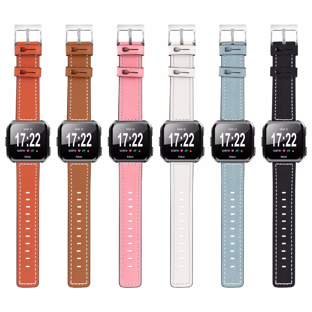 For Fitbit Versa Bands Women Men, Replacement And Colorful Leather Bands + Metal Clasp Strap Bracelet Adjustable Wristbands For colorful pu leather strap for bag accessories handle with metal clasp for diy purse 10pcs lot