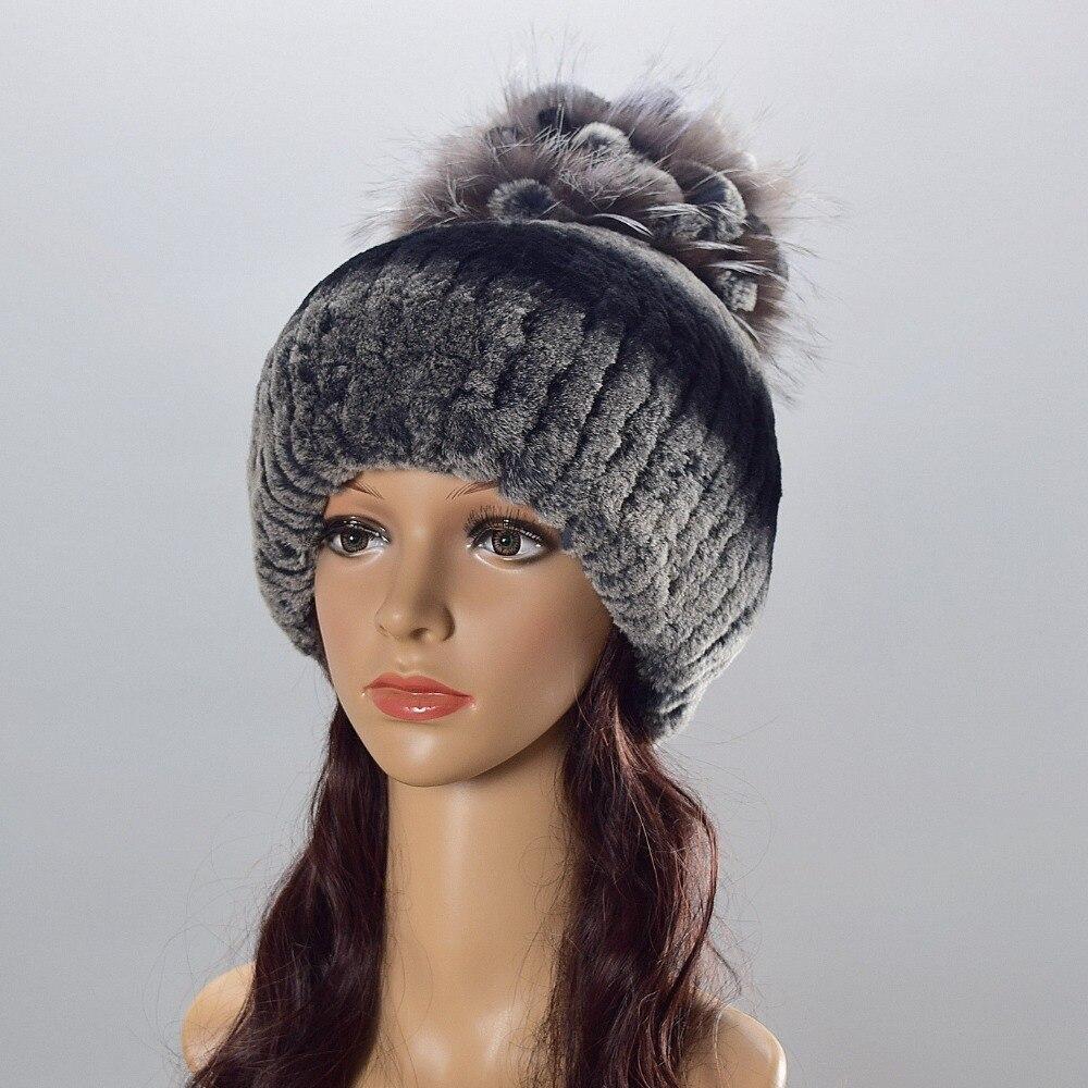 LanTu Fur Store Women's Fur Hats Natural Rex Rabbit Fox Fur Caps Winter Warm Russian Ladies Fashion Brand High Quality Beanies New Arrival