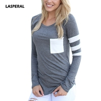 LASPERAL Hot Sale Spring Autumn Women Tops Casual Loose Long Sleeve Patchwork Shirt With Pockets Female