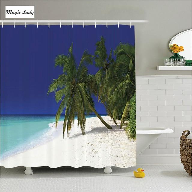 Shower Curtain Tropical Bathroom Accessories Ocean Art Nature Coast Colorful S Blue Green Beige Home Decor