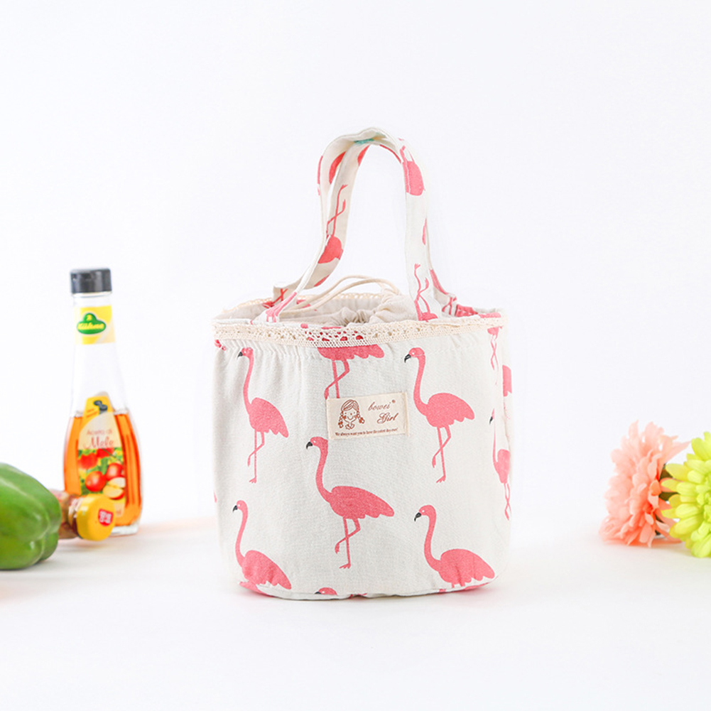 Portable Bear Flamingo Pattern Insulated Drawing String Lunch Bag Picnic Pouch