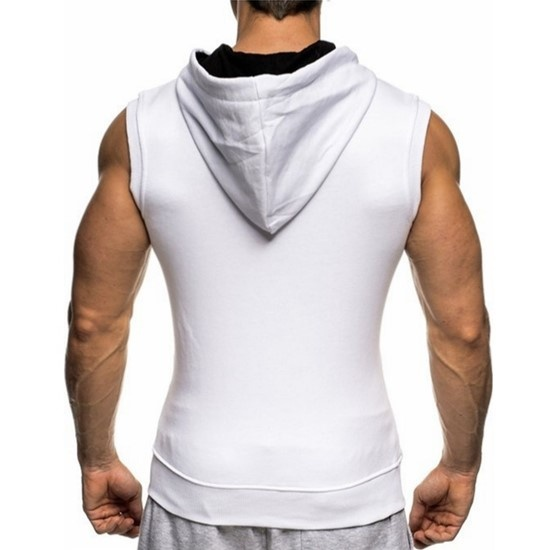 Plus tamanho S-XXXL malha masculina sem mangas