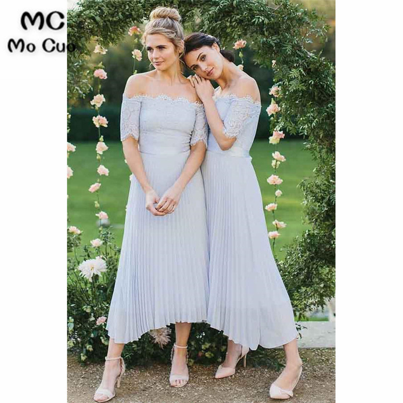 Off Shoulder Lace   Bridesmaid     Dress   with Short Sleeve Chiffon Wedding Party   Dress   Ankle Length Women   Bridesmaid     Dresses