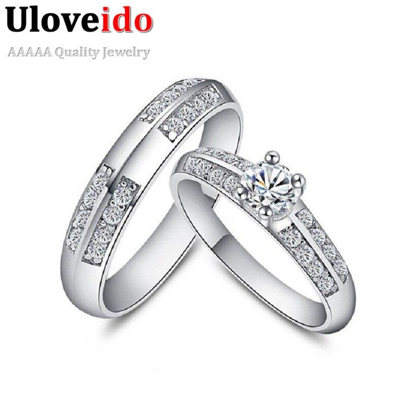 65228a164397 Uloveido pareja boda CZ circón anillos para mujeres y hombres joyería de  moda Aneis compromiso ...