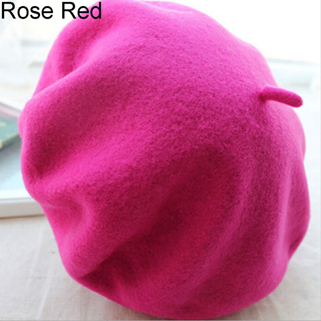 High Quality Wool Felt Women Knit Beret Winter Warm Female British Style Hat Casual Lady Solid Color Cap Wholesale Hot