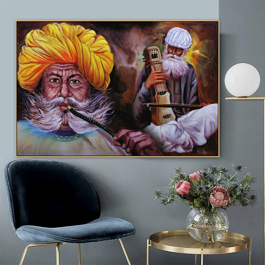 Traditional Rajasthani Musician Indian Village Men Smoking Handmade Canvas Painting Poster Print Wall Art Picture Wall Decor Mega Offer Dd25a6 Cicig