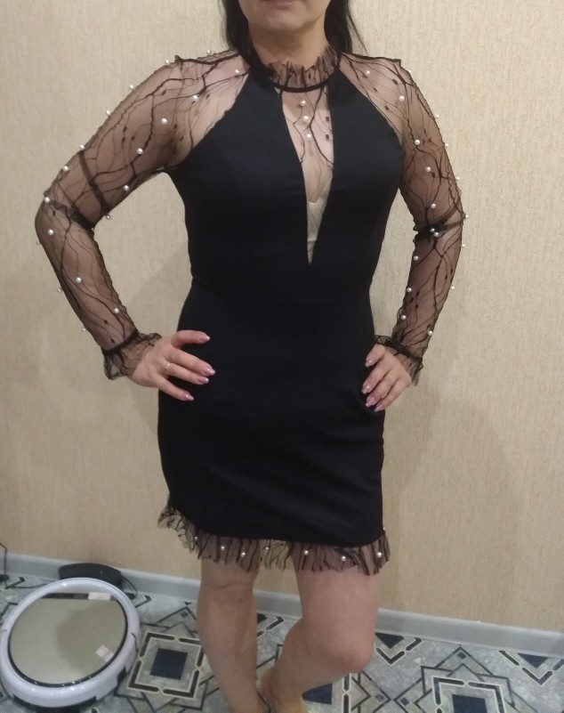 COLROVIE Black Pearl Beading Vine Mesh Panel Dress Women Ruffle Round Neck Long Sleeve Sexy Dress Party Bodycon Dress