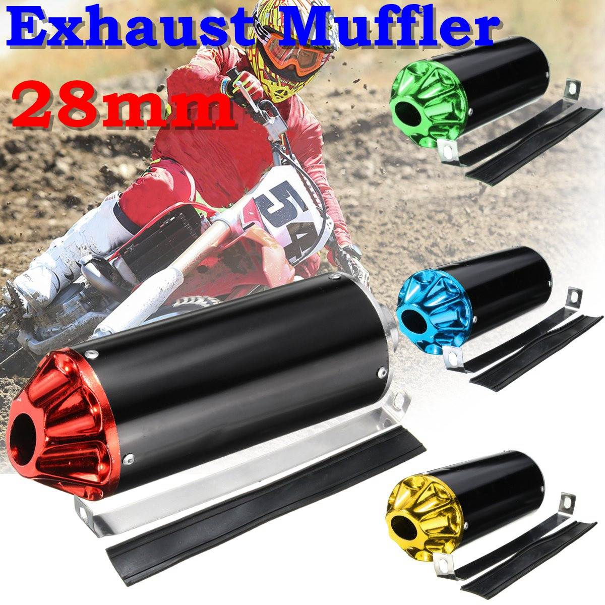 28mm Exhaust Muffler with Clamp For TTR CRF50 SSR Thumpstar 90cc 110cc 125cc Dirt Pit Bike