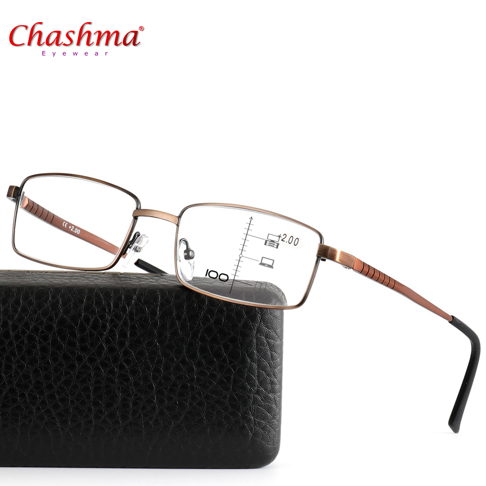 Chashma Brand Progressive Multifocal Reading Glasses Designer pilot double bridge spring hinge See Near And Far TOP 0 ADD +1 To