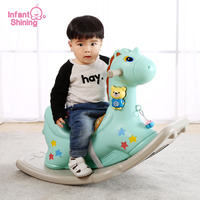 Infant Shining Kids Rocking Horse Ride on Toys Baby Indoor Ride Horse Toy Childern Game Rocks 1 6 Years Toy Cartoon Eco friendly
