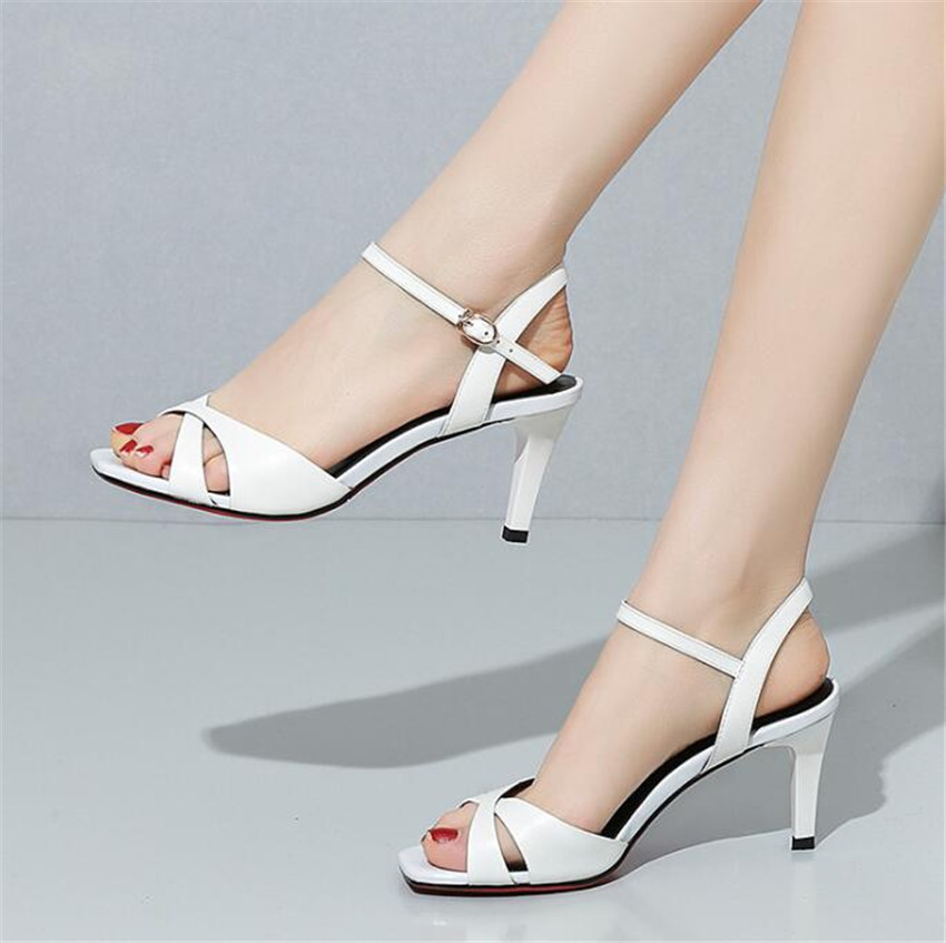 MLRCRIYG 2018 summer New pattern Fine heel Genuine leather Shallowly heeled shoe