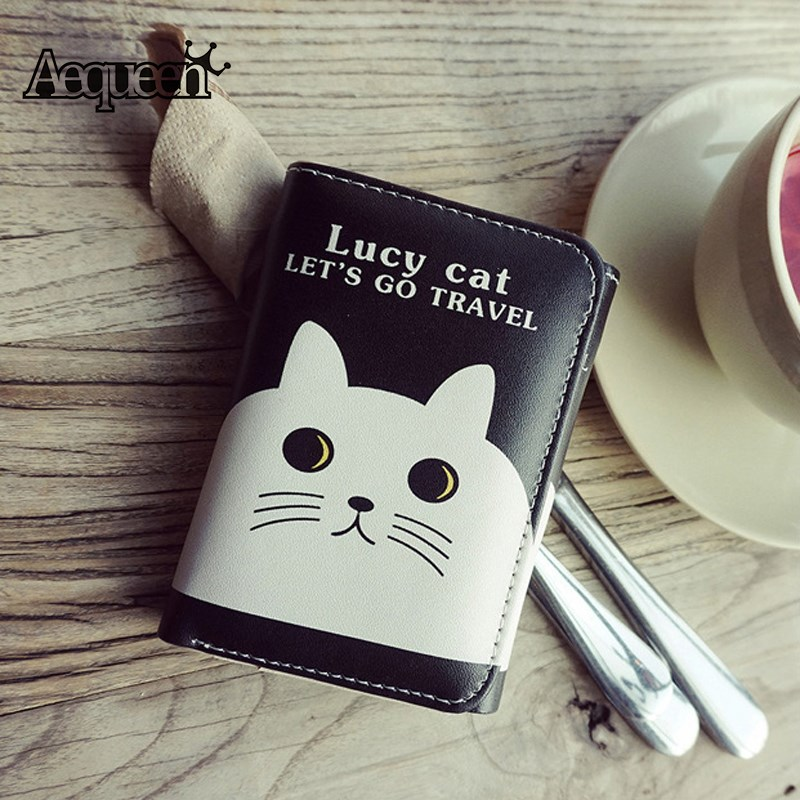 AEQUEEN Cartoon Women Wallet Cute Cat Short Purses PU Leather Wallets Animal Printing Coin Purse Girls Card Holder 3 Fold Pouch high quality leather cute women s wallets coin purse leather short women leather wallets girls best gift free shipping