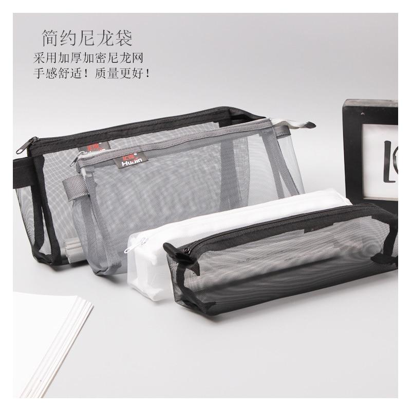 1 Pcs Discount Simple Transparent Mesh Pencil Case Nylon Kalem Kutusu Office Student School Supplies Pen Box Astuccio Scuola