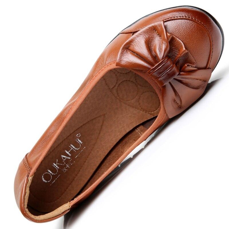sur Plates Chaussures Véritable Oukahui En Confortable Automne Mou red Femmes Appartements Cuir Fond Dames Ballet Bowkont Profonde Printemps Slip yellow Black Peu wUaqwB