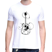 2017 New Stylish Men's Guitar Print Summer O-Neck Short Sleeve Top Tee T-Shirt