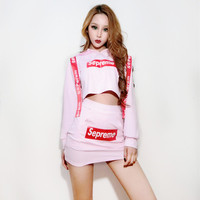 PInk Hiphop Modern Dance Costume 2 PIECES SET Sexy Jazz Performance Costumes Dj Singer Stage Clothes Woman Party Outfit DWY302