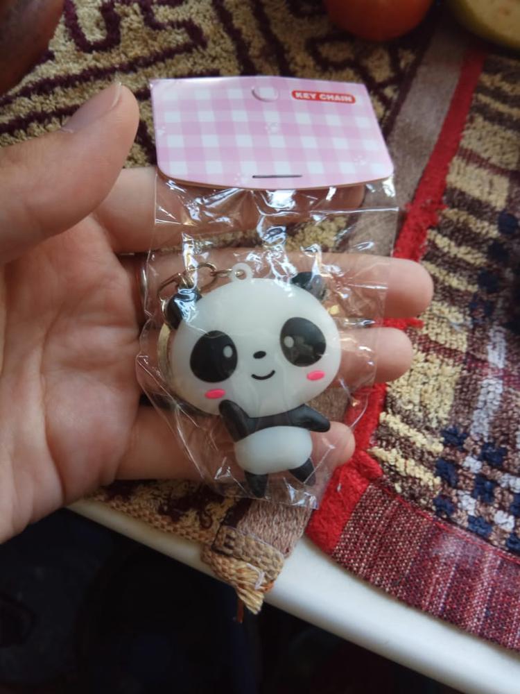 ISKYBOB Leuke Kawaii Cartoon Panda Sleutelhanger Tas Hanger Siliconen Sleutelhanger Tas Accessoires photo review