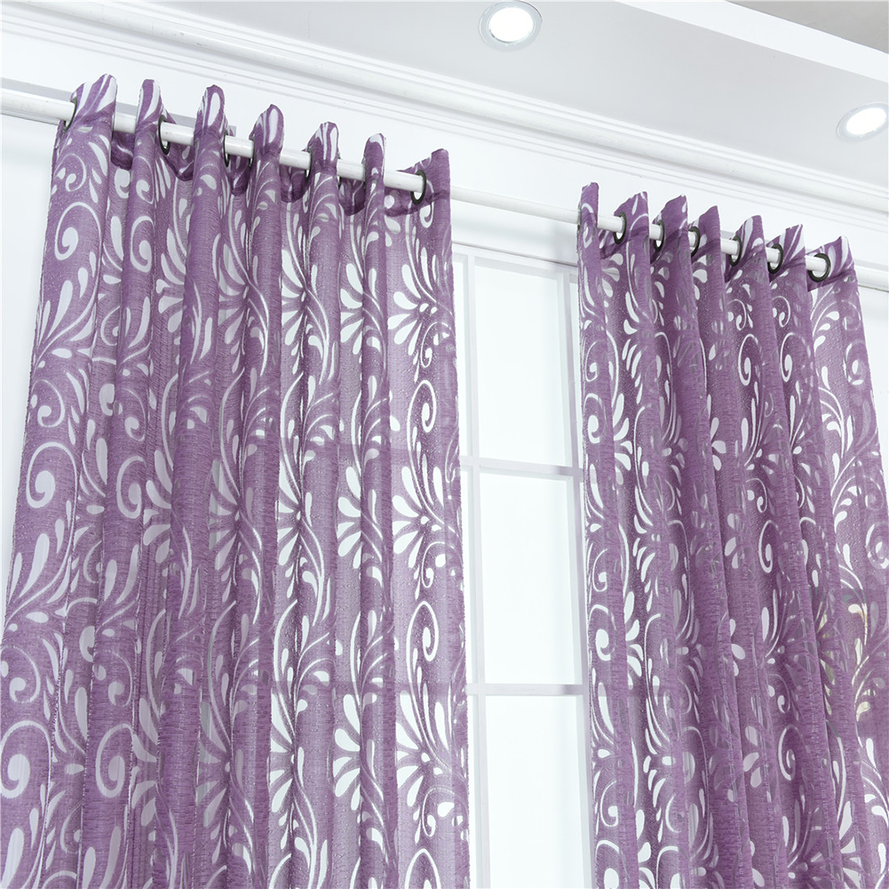 Fashion Phoenix Tail Window Curtain Sheer Divider Panel Perforated Bedroom Decor