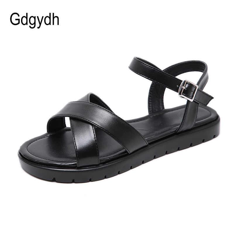 Gdgydh หัวเข็มขัดผู้หญิงรองเท้าแตะส้นแบนสุภาพสตรีแฟชั่นหนังสีดำทองรองเท้าแตะรองเท้าแตะฤดูร้อนสบาย Drop Shipping