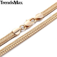 6MM 18K Rose Gold Filled Necklace 24 MENS Chain Womens GF Snake Chain Fashion Jewelry GN92