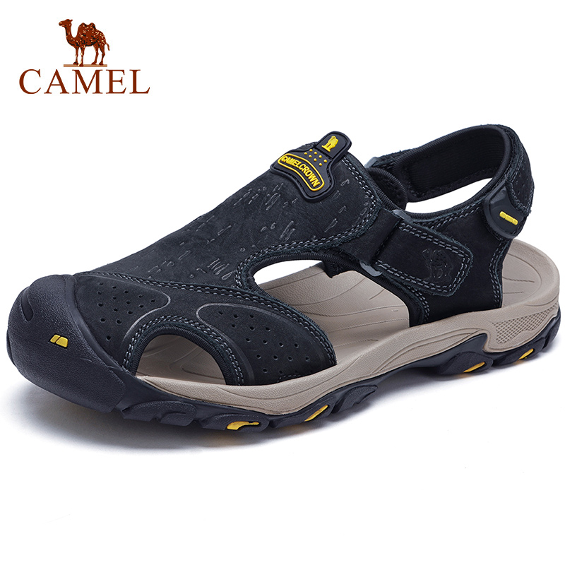 cfdbbf6a5140e CAMEL Men's Walking Sandals Genuine Leather Closed Toe Outdoor Beach Sandal  Trekking Traveling Ankle Strap Casual Men Shoes