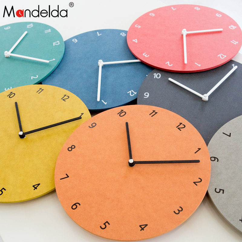 Mandelda Wall Clocks 10inch Brief Modern Wall Watch Multiple Colour Silent Watches Home Decoration for living room bedroom