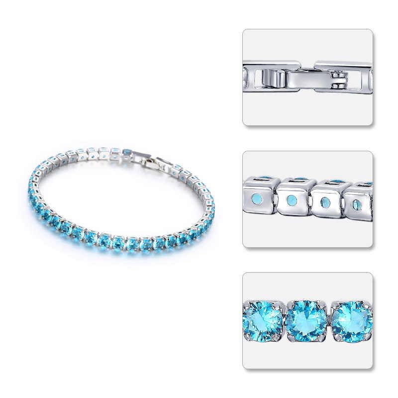 CARSINEL כחול ים אופנה חדש צמידי זירקון מעוקב נשים צבע כסף תכשיטי חתונה מסיבת Femme BR0253D מתנה