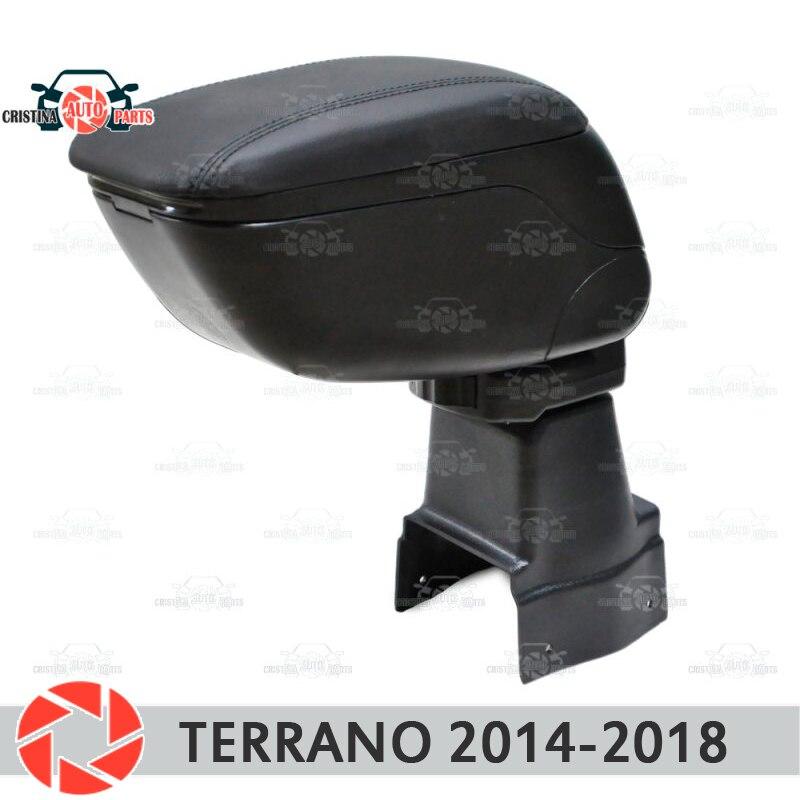 Para Nissan Terrano 2014-2018 Reposabrazos de coche consola central caja de almacenamiento de cuero Cenicero accesorios de estilo de coche