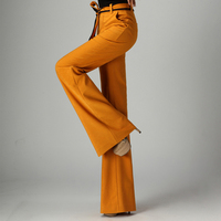 Women Yellow Black Wide Leg Spring Pants Natural Waist Tie Waist Trousers Korean Style OL Pants Long Pants Trousers Bellbottoms