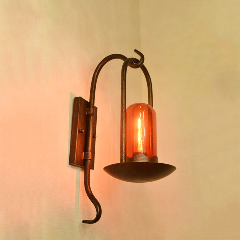 Retro Northern Europe Industrial Style Glass Wall Lamp Cafe Bar Restaurant Bedroom Parlor Aisle Decoration Lamp Free Shipping background spider led wall lamp personality retro industrial restaurant cafe aisle ant insect decoration lamp free shipping