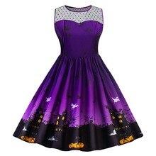 Fowyla5XL Halloween Print Lace Panel Vintage Dress Women Retro Rockabilly A-Line Pin Up Party Dresses Feminino Vestido Plus Size