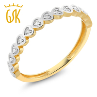 GemStoneKing Diamond-Jewelry 18K Yellow Gold Ring Natural White Diamond Heart Shape Ladies Wedding Band Stackable Promise Ring