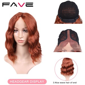 Image 2 - FAVE Lace Front 9*1.4 Natural Wave Synthetic Hair Wigs Orange Red Adjustable Size For Black White American Women 's Cosplay Wig