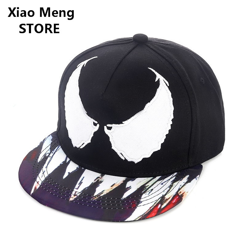 2017 New Marvel Batman Venom Baseball Caps For Men Women Adjustable Angel Devil Wings Snapback Hat Hip Hop Cap Planas Gorras M21 new cotton tactical baseball cap seals punisher american sniper army snapback hat baseball cap for men