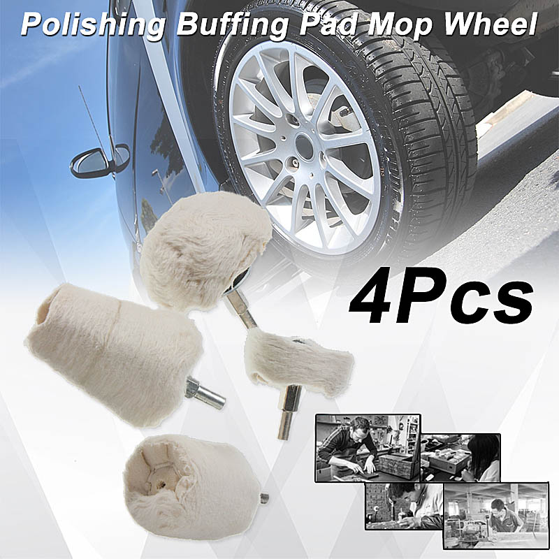 4pcs/Sets Polishing Buffing Pad Mops Wheel Shank Cone Tapered  Rotary For Manifold Aluminum Stainless Steel Chrome Color White