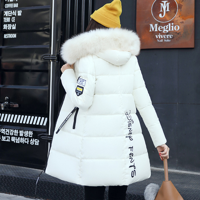 Winter Jacket Women Mid-long Thicken Warm Cotton-padded Down   Parkas   Coat Faux Fur Collar Hooded Jacket For Girl