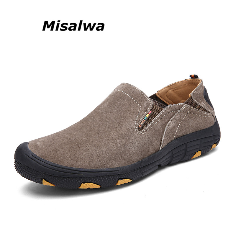 Misalwa New Shoes Men Casual Moccasins Genuine Leather Men Loafers Comfortable Round Toe Slip-on Driving Male Flat Shoes genuine leather men shoes casual loafers slip on mens driving shoes flats moccasins comfortable leisure male hot fashion