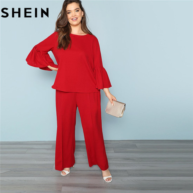3c845904da SHEIN Red Long Flare Sleeve Plus Size Workwear Women Set 2018 Autumn Office  Lady Stretchy O Neck Top With Pants Two piece Outfit