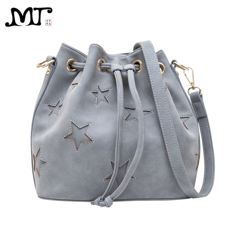 MJ Brand Design Women Bags Fashion PU Leather Drawstring Bucket Shoulder Bag Ladies Small Crossbody Messenger Bag Double Straps