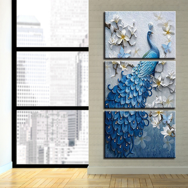 Us 20 8 48 Off Canvas Prints Wall Painting Home Decor Modern Animals Wall Mural Painting Peacock With Framed Modern Vintage Blue Peacock Bra In