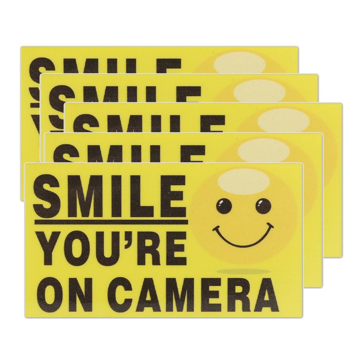 Новый safurance 5x Улыбка Вы на Камера самостоятельно adhensive CCTV видео сигнал Детская безопасность Наклейки знаков деколь охранных предупреждение